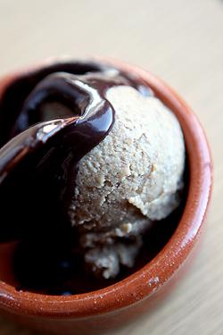 banana ice cream with chocolate sauce