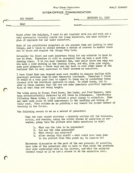 Letters of Note How to Train an Animator, by Walt Disney - inter office communication letter