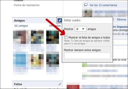 Privacidad de amigos en facebook