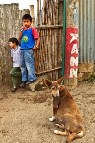 Kids and Dog, San Miguel Duenas, Guatemala