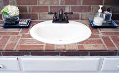 brick beach bathroom counter and sink+bathroom...