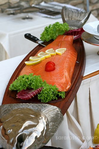 Smoked salmon, salmone affumicato, at an Italian wedding