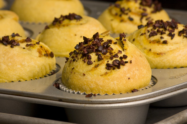 Laminated Pumpkin Brioche topped with Cocoa Nib bits