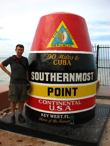 keith and the southernmost point marker in key west