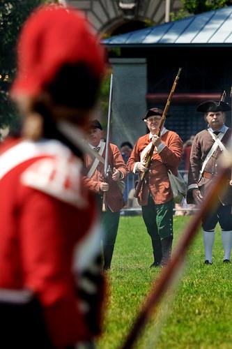 Militiamen staredown Redcoats