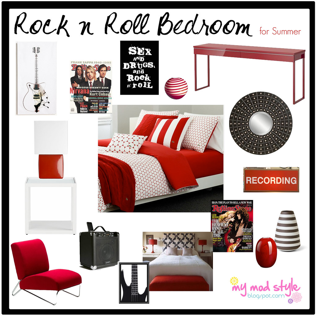 Rock And Roll Themed Room My Mod Style Design Board Rock N Roll Bedroom For Summer