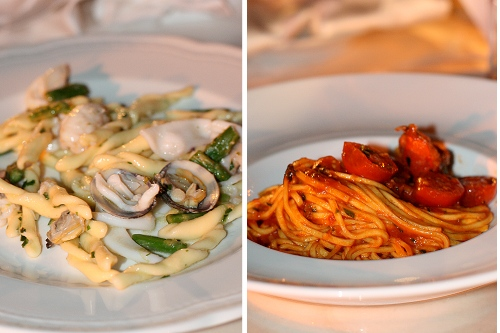 Two pasta first courses at a Pugliese wedding in Abruzzo