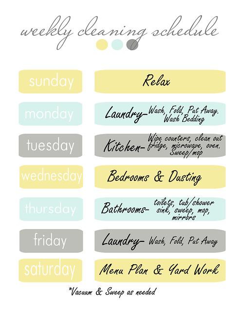 Weekly Cleaning Schedule - Blooming Homestead