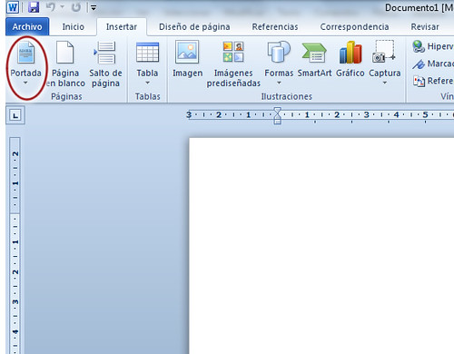 Portada en Word 2010 Informática para principiantes
