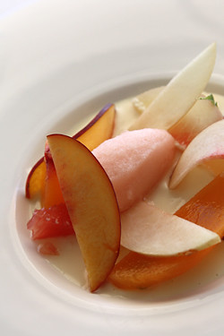 pink grapefruit sorbet with stone fruits