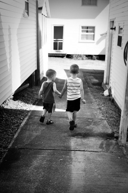 Brothers Walking to Class