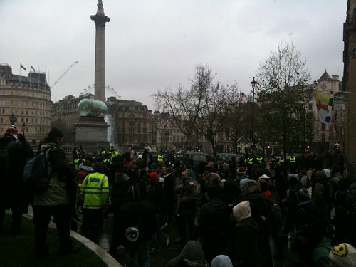 The students protests arrives at Trafalgar Square