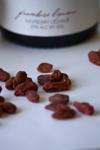 Dried Goji Berries and Framboise Liqueur