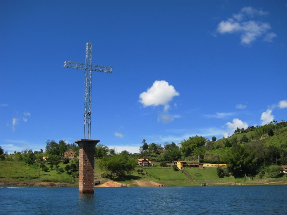 In order to create the lake in El Penol and Guatape, and provide fresh water to Medellin, it was necessary to build a dam and submerge a town. The metal cross of a submerged church acts as a constant reminder.