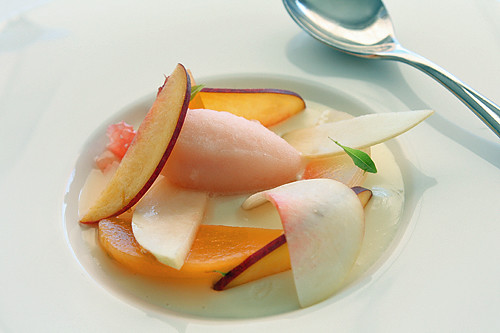 pink grapefuit sorbet, panna cotta, peaches