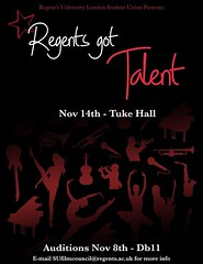 Happy Monday at Regent's! This week on Wednesday we are holding auditions in room Db11 for the annual talent show -- Regent's Got Talent! Don't feel like showing Regent's what you got? Come out to the Talent Show to watch your friends and discover other h
