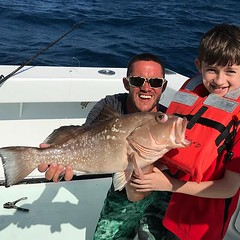 First Fish... nice Red Grouper for our young angler. Quick Picture and a good release... see you again in May !! #deepseafishingmiami #Spellbound