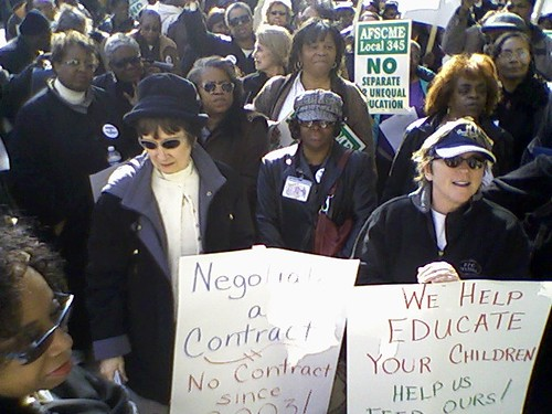 Detroit Public Schools union members and supporters rallied March 23, 2010 outside the Fisher Building in the New Center near headquarters and the Emergency Financial Manager's office. (Photo: Abayomi Azikiwe) by Pan-African News Wire File Photos