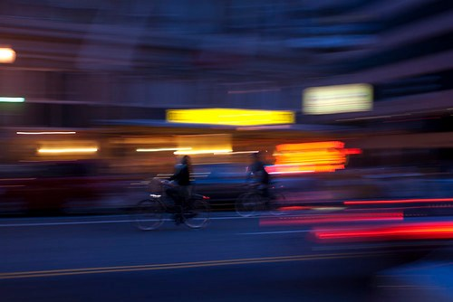Night bicyclists in DC.