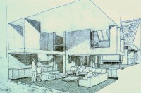 Perspective view of the living room, the study balcony to ...