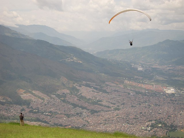 Paragliding in the mountains above Medellin