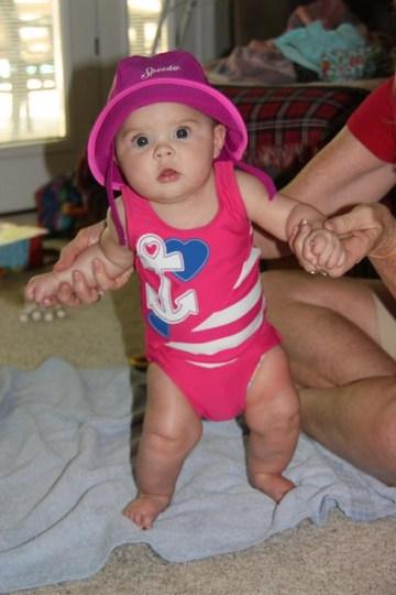 Annie's first swim