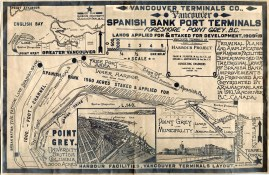 Spanish Bank port terminals, foreshore at Point Grey, B.C. showing lands applied for and staked for development, 1909-19. (COV Archives – LEG1362.03)