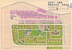 Building types and proposed layout of buildings and streets in Strathcona as part of the 1957 Vancouver Redevelopment Study. (COV Archives - LEG26.8)