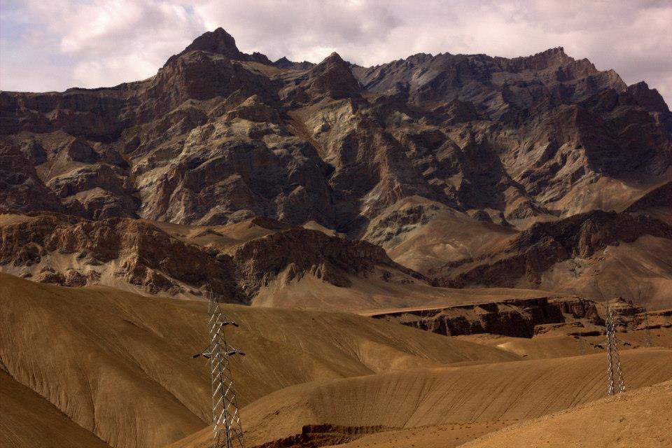 Surreal arid high altitude desert landscape of Ladakh