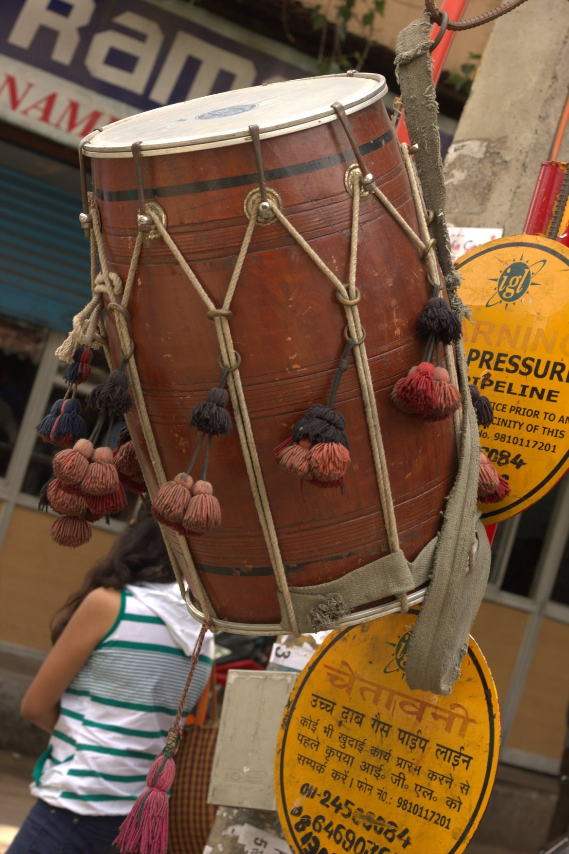 Dhal players display their drums at Kathputli Colony