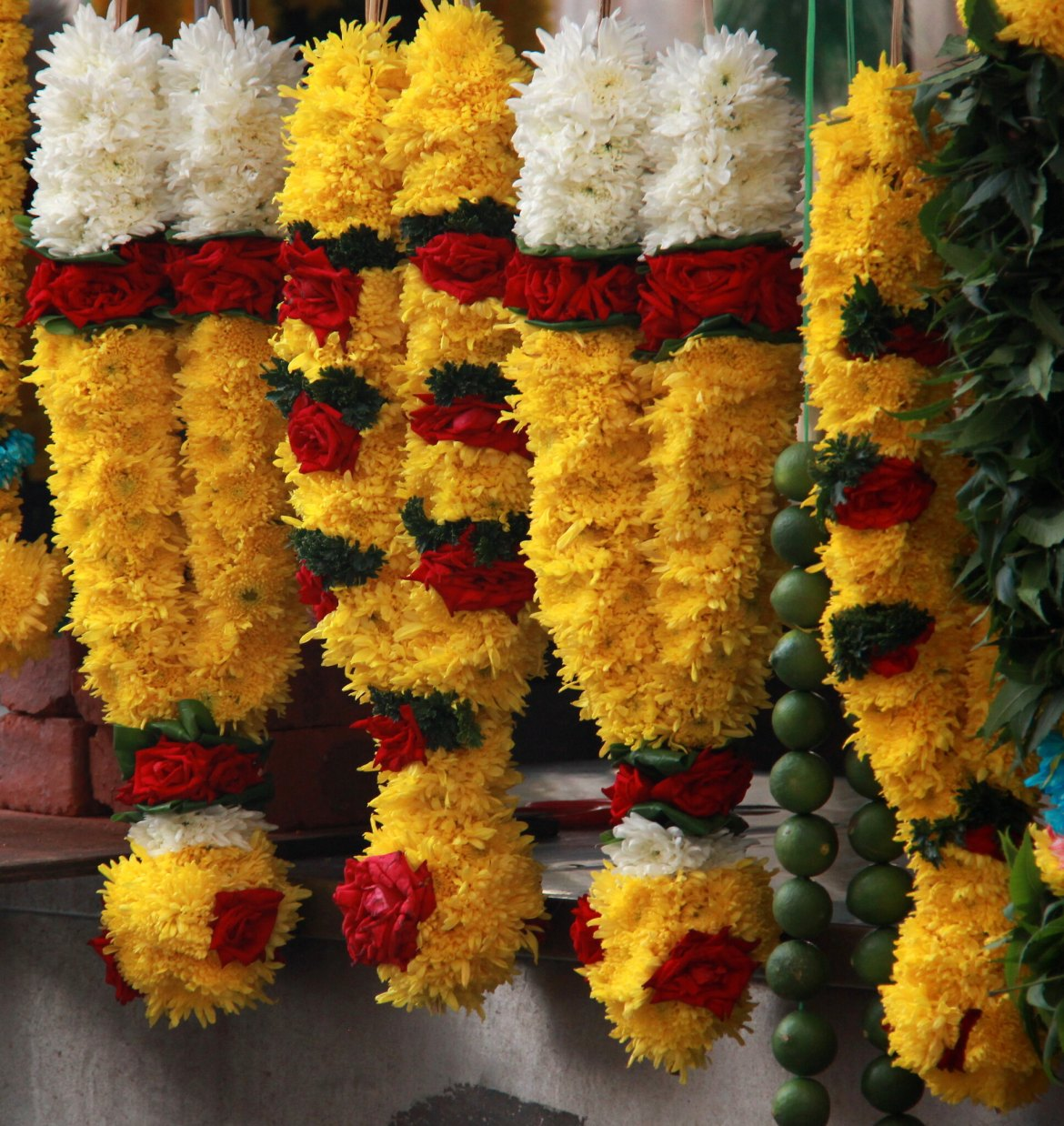 Flower garlands on sale at Little India in Kuala Lumpur