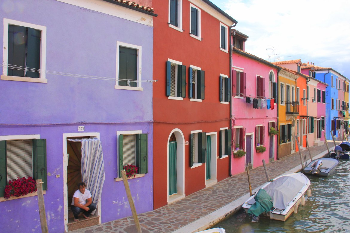 The colourful houses of the fishing village on Burano island