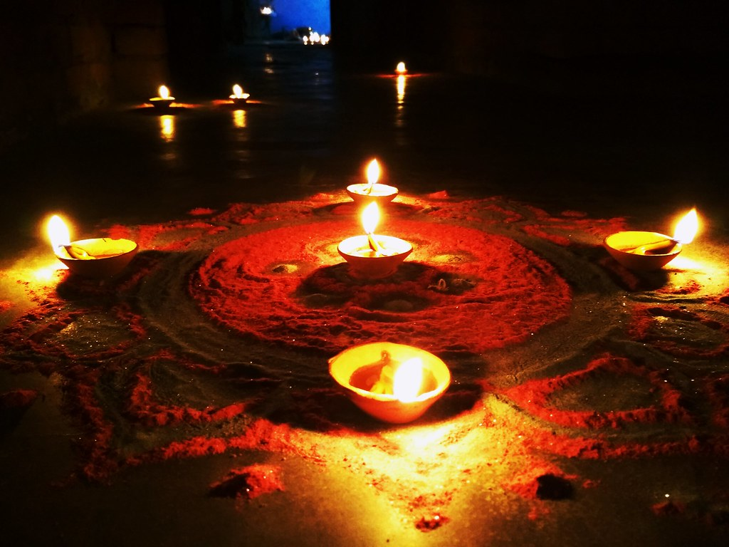 Light Decoration Diwali Beautiful Lamps Decoration At The Occasion Of D I W A L I