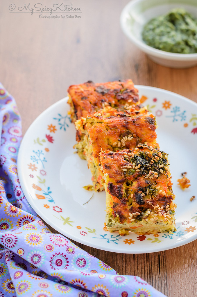 Baked handvo is a savory rice and mixed lentils cake  with vegetables.  It is a snack from Gujarat., Gujarati Food, Savory Bake, Savory Rice Lentils Cake,