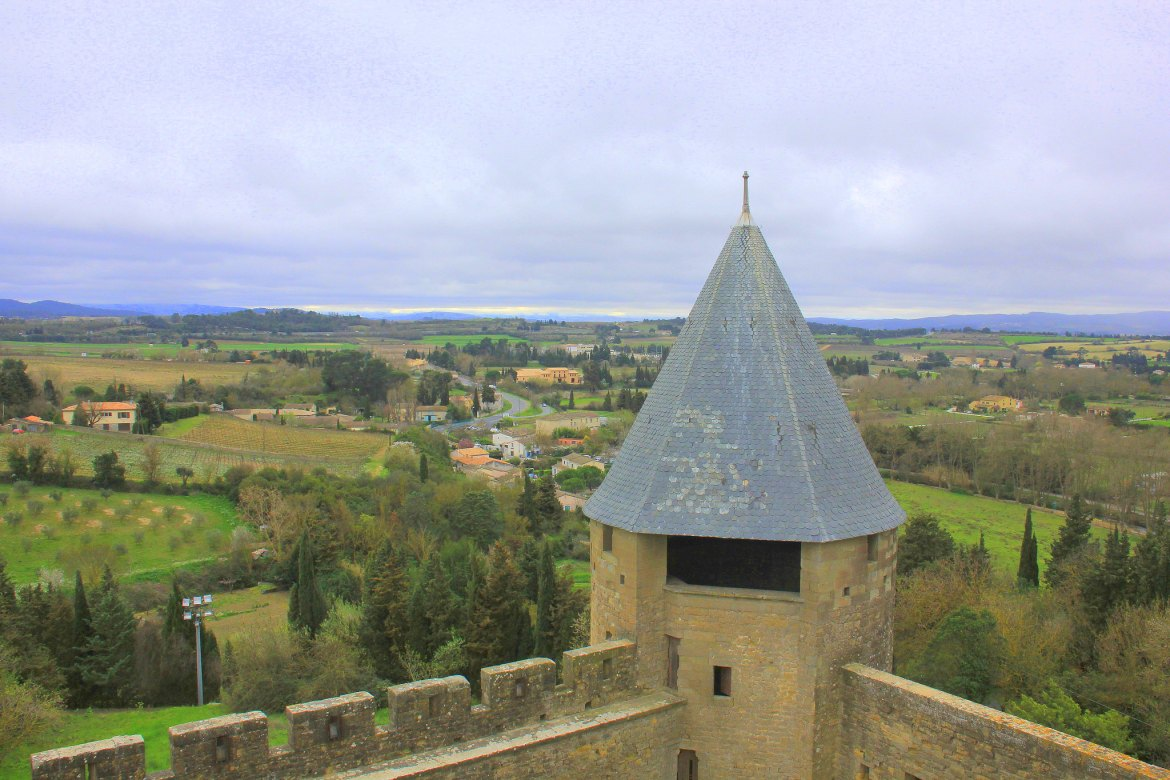 The turrets of Carcassonne overlook the river Aude