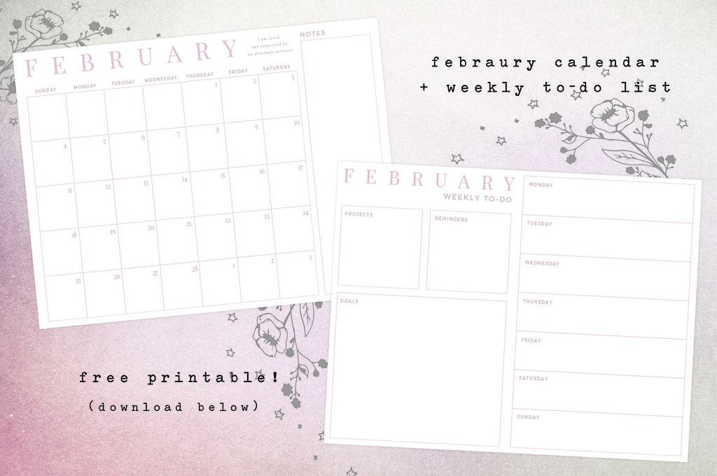 stellaire free february calendar printable