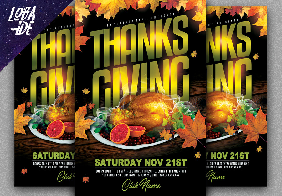 Thanksgiving Flyer Template Detail  Fully Layered PSD fil\u2026 Flickr