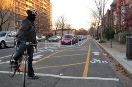 The northern terminus of the cycletracks (V St NW)