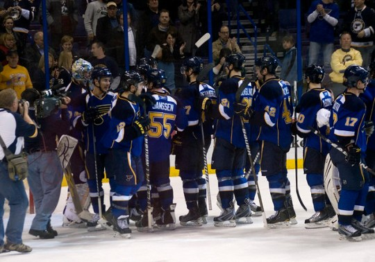 Blues salute the crowd after beating the Ducks 9-3.