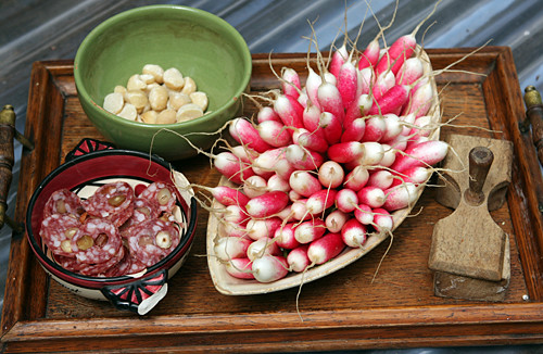 radishes and snacks