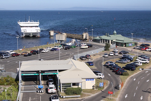 Overview of the Queenscliff ferry terminal, with MV Queenscliff arriving
