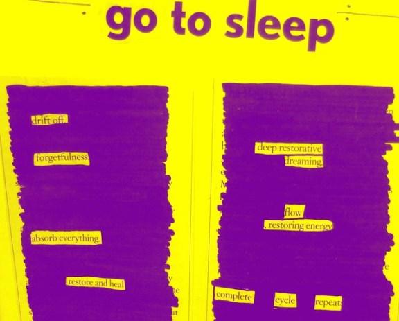 go to sleep blackout poetry