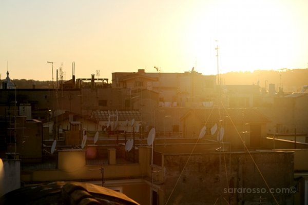 Rooftop sunset, Vinoroma, Rome, Italy