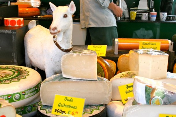 Goat cheese at the farmer's market in Holland