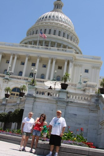 The family in front of the Capitol Building
