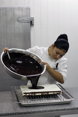 pouring chocolate