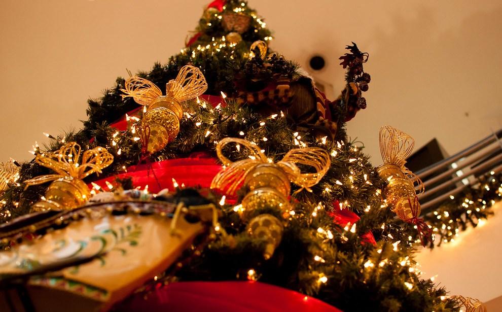 Vista de un árbol de Navidad de aproximadamente 4 metros de altura en un conocido Shopping Asunceno, adornado con luces, cintas y moños decorativos (Elton Núñez - Asunción, Paraguay)