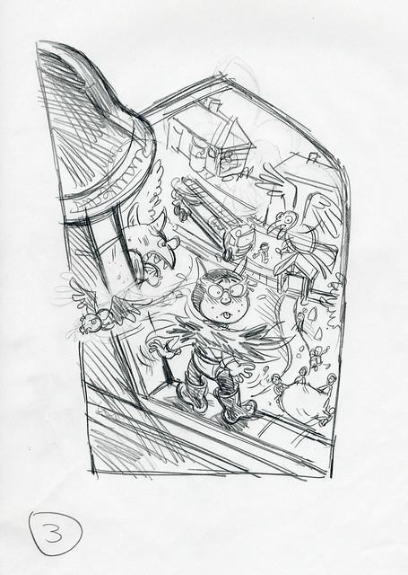 Roger Frames - Batfink and gargoyle - 1st rough