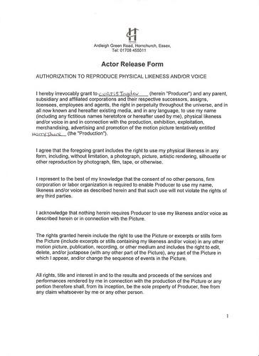 A2 media studies advanced portfolio G324 Actor release form - actor release form