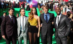 MOSCOW, RUSSIA - JUNE 23: (L-R) Patrick Dempsey, Shia LaBeouf, Rosie Huntington-Whiteley, Michael Bay, Tyrese Gibson TRANSFORMERS 3: DARK OF THE MOON red carpet arrivals of the Global Premiere at the Moscow Film Festival on June 23, 2011 in Moscow, Russia